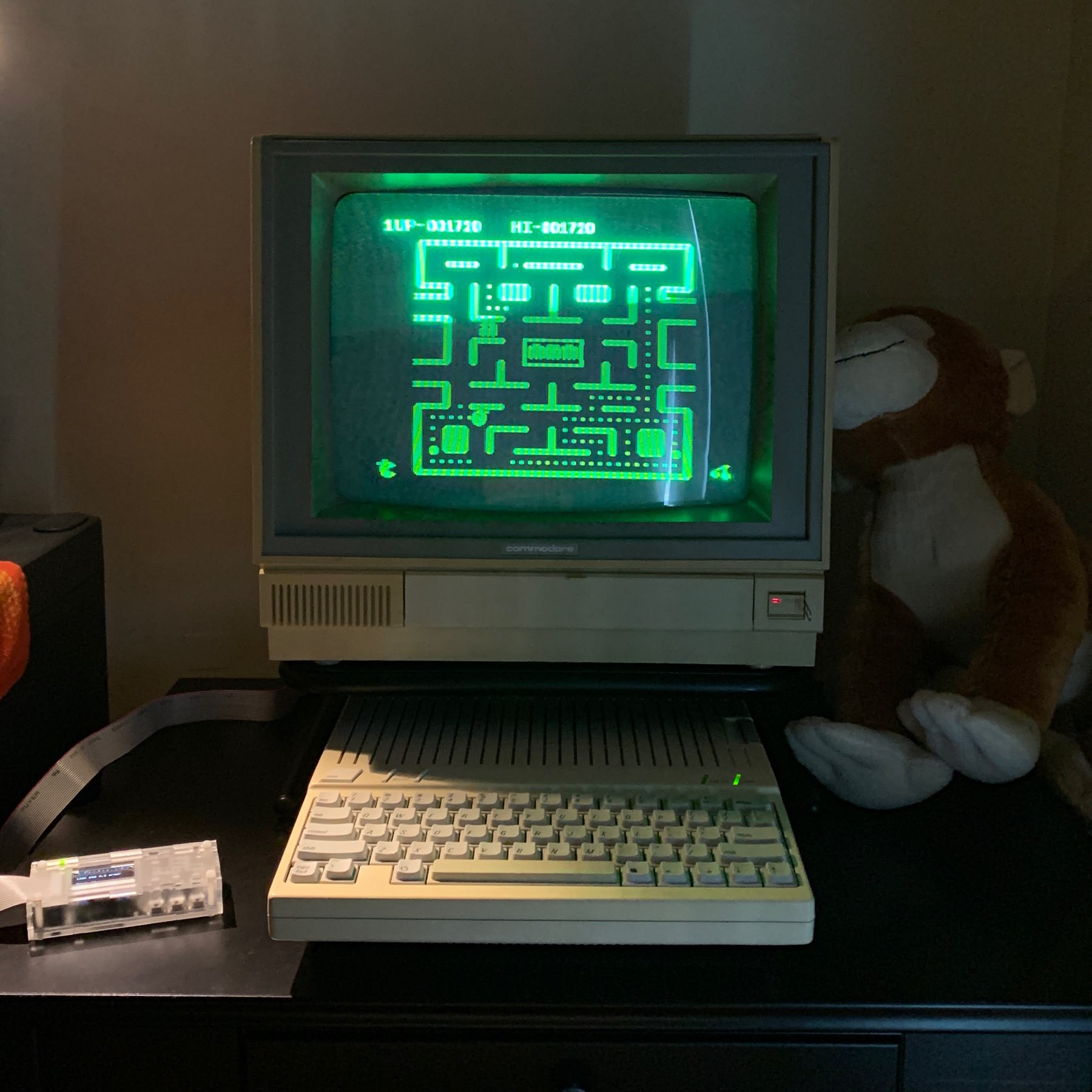 Apple IIc connected to Commodore monitor with monochrome green phosphor picture